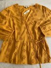 Madewell Pet Small Scalloped Eyelet Wrap Top Gold 100 Cotton 3 4 Sleeves New