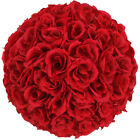 5 Pcs Wedding Silk Rose Kissing Flower Ball For wedding Party Decor Wine Red