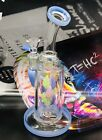 New 85 INCH Light Blue  Clear Glass Bong Leaf Design Art Water Pipe USA