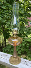 Antique Etched Amber Glass Grapevine Design And Brass Oil Lamp
