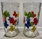 Vintage Anchor Hocking 16 oz. Set of 2 Jelly Jar Style Tumblers-Butterfly Design