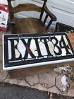 Antique Stained Glass Exit Sign From Old Theater Building c1930 PICK UP ONLY