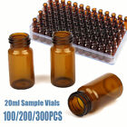 100200300x 20ml Lab Sample Vials Amber Glass Bottle 24-400 Screw Top Container