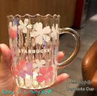 Starbucks 12oz Cherry Blossom Girl Dazzle Aurora Gold Edge Double Glass Mug Gift