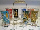 VINTAGE MCM LIBBEY INTERNATIONAL CITIES TUMBLER SET OF 7 WITH CADDY