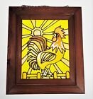 Rooster Morning Crowing Primitive Glass Wood Frame Country Farm Chicken