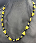 Vintage Yellow Black  Crystal GLASS BEAD NECKLACE Barrel Screw Clasp 152