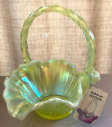 FENTON BEAUTIFUL TOPAZ YELLOW OPALESCENT BASKET 6638 TS IN MINT CONDITION 85