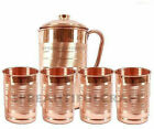 Copper Water Jug Pitcher with 4 Glass Tumbler 300ML Each For Health Yoga Benefit