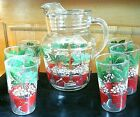 Vintage Anchor Hocking Glass Strawberry Pitcher w Ice Lip  6 matching glasses