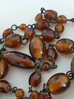 Art Deco Very Long Amber Hand Blown Glass Bead Link Necklace