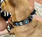 CLOSEOUT Native American Dog Collar SZ M Turquoise Sunburst Conchos Wt Hairpipe