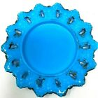 Antique Blue Milk Glass Plate rare 1900s Pointed Lace Edge Dithridge  7 1 8