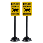 NEW! Lemax Spooky Town 2 Black Cat Xing Scary Road Signs Mini Village Halloween