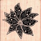 Outlines SMALL DOTTED POINTSETTA Wood Mounted Rubber Stamps Flowers Nature