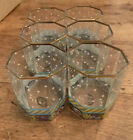 SET OF 6 Mackenzie Childs Octagonal Double Old Fashioned Garland Glasses 3 5 8