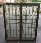 ANTIQUE STAINED GLASS Double WINDOW  Rondels SOFT COLORS
