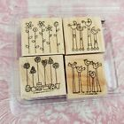 Stampin Up Rubber Stamps Simple Somethings Set of 4 Flowers Birds Baby Carriage