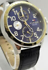 TOMMY HILFIGER $175 MEN'S COOL SPORT GOLD SILVER BLUE DIAL DATE WATCH 1791137*