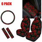 6 Pack Womens Rose Car Seat Coversseat Belt Padsarmreststeering Wheel Cover