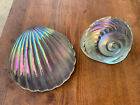 Two Vintage Seashell Shell Art Glass Paperweight Iridescent Clam +