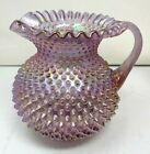 Fenton Large Pitcher Iridescent Carnival Pink Glass Hobnail Stunning Take a look