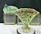 Fenton Art Glass Basket Vasa Murrhina Adventurine Green and Pink Sparkling