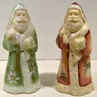 Fenton Fabulous Pair Hand Painted Santa Claus One Red One Green