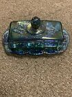 Vintage Indiana Glass Blue Iridescent Carnival Glass Butter Dish 2226 With Box