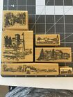 ANNE MADE DESIGNS Rubber Stamp Lot House Farm City Castle Town Barn Village