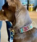 CLOSEOUT Native Look Dog Collar SZ L Turquoise Beads Turtle Concho Hairpipe BRN