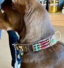 CLOSEOUT Brown Native Look Leather Dog Collar SZ XL Turquoise Conchos Hairpipe