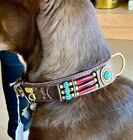 CLOSEOUT Native American Leather Dog Collar XXL Turquoise Conchos Wt Hairpipe BN