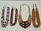 Chunky beaded necklaces brown swirl beads gold tone glass multi strand wood