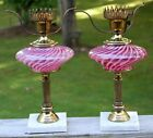 PAIR Vintage Fenton Cranberry Opalescent Swirl Lamps w Marble Bases