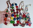 Lot of 5 bright colorful beaded necklaces with stones glass and shells