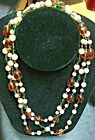 Antique Wedding Cake Hand Blown Venetian Murano Glass Beaded Endless Necklace