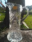 Hand Cut Lead Crystal Water Beverage Pitcher 12 Tall Western Germany