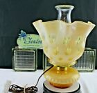 FENTON BUBBLE OPTIC  COIN SPOT HONEY AMBER OVERLAY GLASS ELECTRIC TABLE LAMP