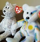 CHEERY & THE BEGINNING 2000 2001 Ty Beanie Babies White Bears Lot of 2 Great!