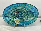 Blue Green Glass Luster Decorative Oval Serving Bowl Dish Platter 13 Italy New