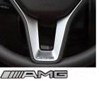 2x AMG Steering Wheel Multimedia Silver Emblem Badge Sticker for Mercedes Benz