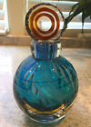 Stunning Blue Murano Italian Glass Perfume Bottle Faceted w Bullseye Stopper
