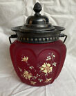 Antique Ribbed Consolidated Glass Pigeon Blood Satin Biscuit Cracker Jar W Lid