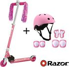 Kids Pink Razor Scooter With Pink Helmet and Elbow Pads Knee Pads Wrist Pads