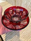 Small Bohemian Cranberry Ruby Red Crystal Cut To Clear Candy Dish Bowl  Plate