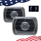 Pair 7 Inch 7X6 Clear Glass Lens White Led Projector Black Headlights