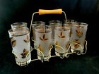 Set Of 8 Vintage Flat Tumbler Libby Golden Foliage With Original Brass Caddy