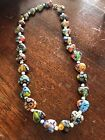 Vintage Italian Venetian Millefiori Heart Glass And Sterling Silver NECKLACE