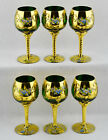 Czech Bohemian 6 Wine Glasses Raised Enamel Flowers Gold Trim 5 1 2 Tall